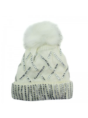 Ladies Knitted Bobble Hat with Fur Lining - Cream