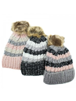 Ladies Knitted Fur Lined Bobble Hat - Assorted Colours