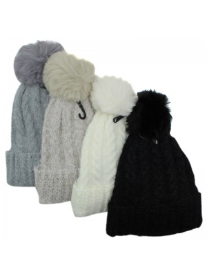 Ladies Knitted Plain Fur Lined Bobble Hat - Assorted Colours