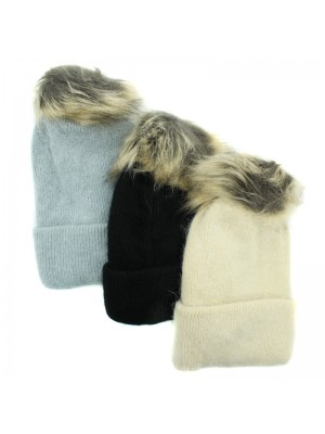 Ladies Knitted Rabbit Fur Detachable Bobble Hat - Assorted Colours