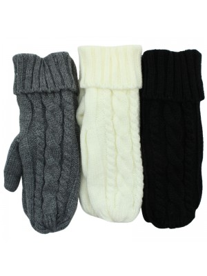 Ladies Knitted Thinsulated Mitten Gloves - Assorted Colours