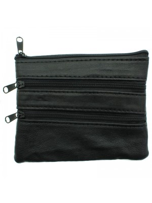 Ladies Leather Coin Purse with 4 Compartments - Black
