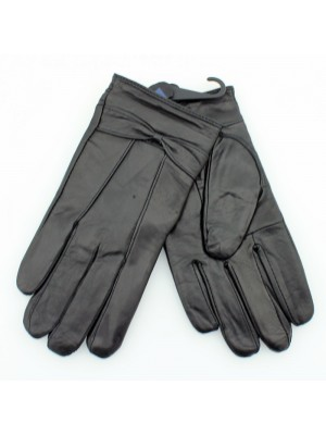 Ladies Leather Gloves With Bow - Black (Assorted Sizes)