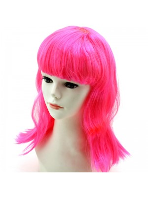 Ladies Long Bob Wigs - Hot Pink