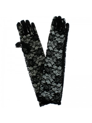 Ladies Long Lace Gloves With Fingers - Black