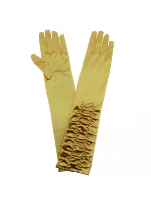 Ladies Long Ruched Satin Gloves - Gold