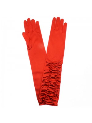 Ladies Long Ruched Satin Gloves - Red