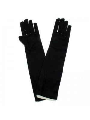 Ladies Long Satin Gloves - Black