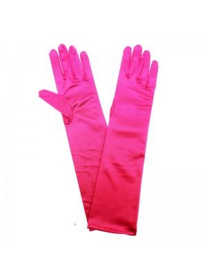 Ladies Long Satin Gloves - Fuchsia
