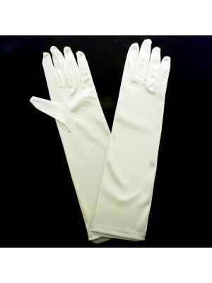 Ladies Long Satin Gloves - Ivory