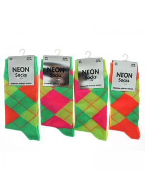 Ladies Neon Design Socks Argyle Pattern- Assorted Colours