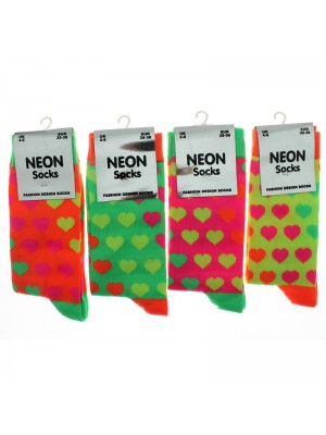 Wholesale Ladies Neon Heart Pattern Socks -Assorted Colours