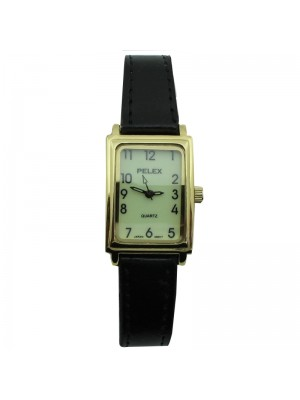 Ladies Pelex Glow in The Dark Leather Strap Watch - Black & Gold