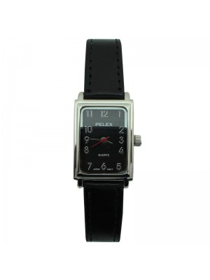 Ladies Pelex Rectangular Dial Leather Strap Watch - Black & Silver