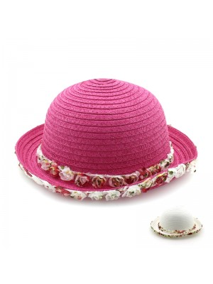 Ladies' Pink Straw Hat With Frilled Petal Edges - 55cm (Assorted Colours)
