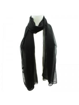 Ladies Plain Chiffon Scarf - Black