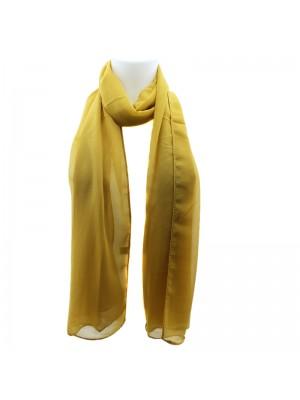 Ladies Plain Chiffon Scarf - Mustard