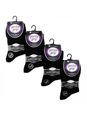 Ladies Plain Cotton Blend Socks - Gentle Grip (3 Pair Pack) - Black