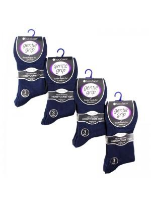 Ladies Plain Cotton Blend Socks - Gentle Grip (3 Pair Pack) - Navy
