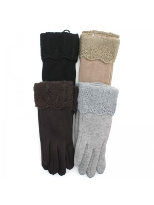 Ladies Plain Fashion Gloves with Knitted Cuff - Assorted Colours