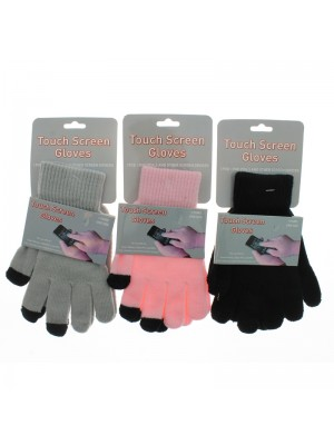 Ladies Plain Touch Screen Gloves - Assorted Colours