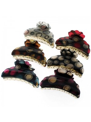Ladies Polka Dot Fashion Print Clamps - Asst. Colours (9cm)