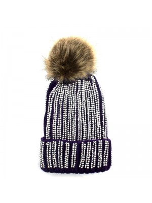 Ladies Pom-Pom Hat with Sequins - Purple