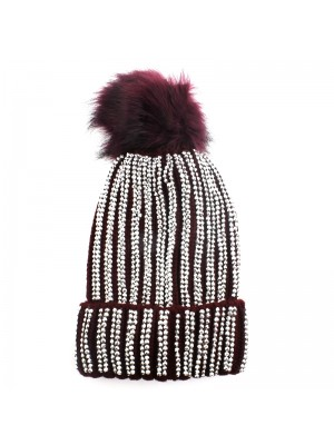 Ladies Pom-Pom Hat with Sequins - Red
