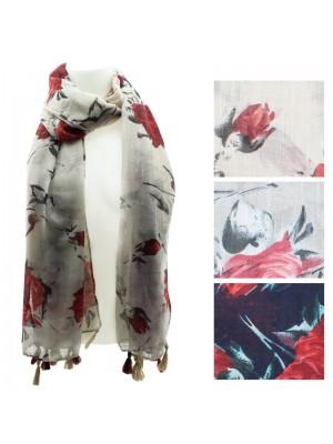 Ladies Rose Design Viscose Pashmina Scarves - Assorted Colours