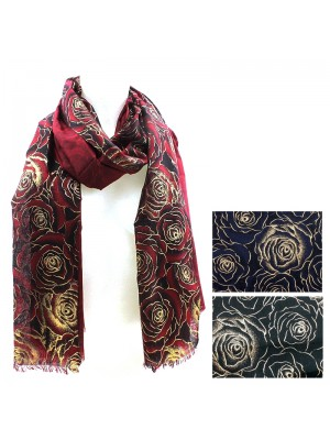 Ladies Rose Print Fashion Scarves - Assorted Colours