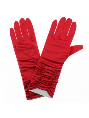 Ladies Short Ruched Satin Gloves - Red