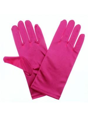 Ladies Short Satin Gloves - Fuchsia