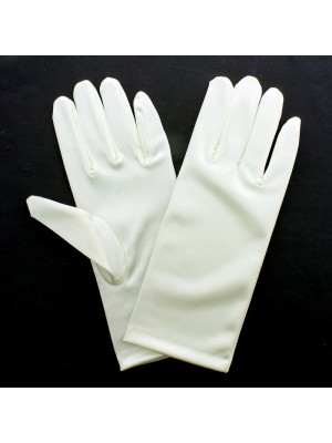 Ladies Short Satin Gloves - Ivory