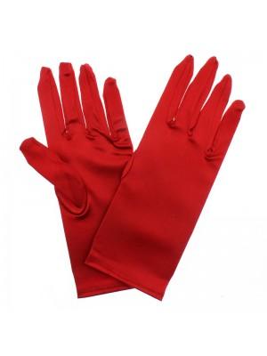 Ladies Short Satin Gloves - Red