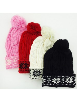 Ladies Snowflake Knitted Bobble Hat - Assorted Colours