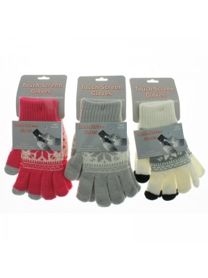 Ladies Snowflake Touch Screen Gloves - Assorted Colours