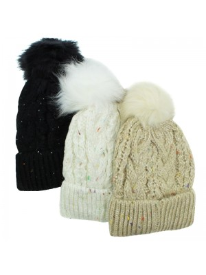 Ladies Spangle Knitted Bobble Hat - Assorted Colours