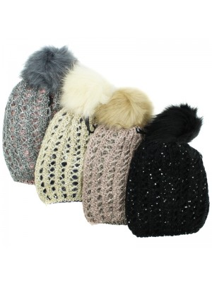 Ladies Spangle Knitted Bobble Hat with Sequins - Asst. Colours
