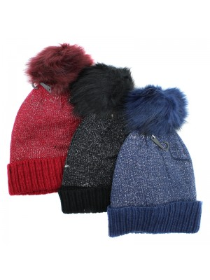 Ladies Sparkle Knitted Bobble Hat - Assorted Colours