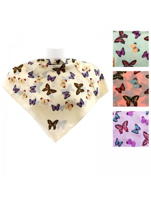 Ladies' Square Scarves - Butterfly Print (Assorted Colours)
