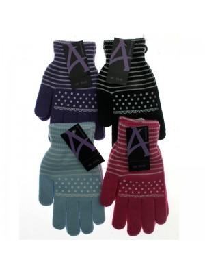 Ladies Stripe & Polka Dot Magic Gloves - Assorted Colours