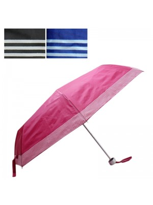 Ladies Striped Compact Umbrella - Assorted Colours