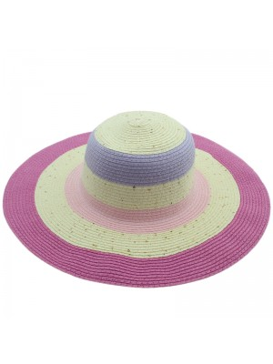 Ladies Striped Straw Hat - Assorted Colours