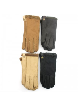 Ladies Suede Gloves With Fur - Assorted Colours & Sizes