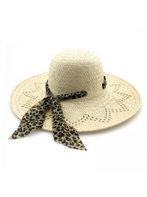 Ladies' Summer Straw Hat With Leopard Headwrap