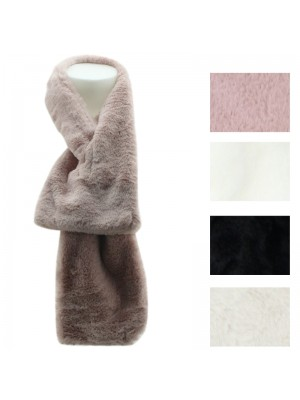 Ladies Synthetic Fur Plain Scarves - Assorted Colours