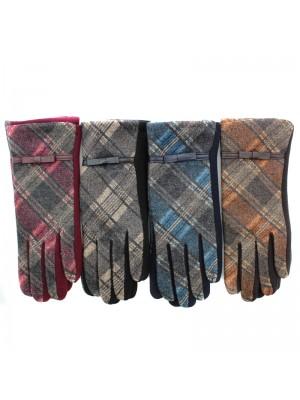 Ladies Tartan Print Winter Fashion Gloves - Assorted Colours