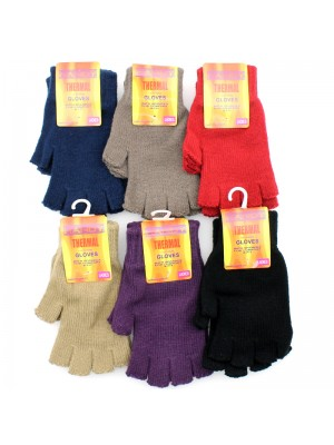 Ladies' Thermal Fingerless Gloves - Assorted Colours