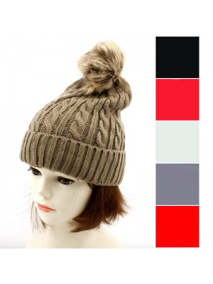 Ladies' Thick Knitted Beanie Hat With Bobble - Assorted Colours