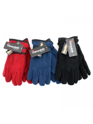 Ladies' Thinsulate Fleece Gloves With Felt Lining - Assorted Colours